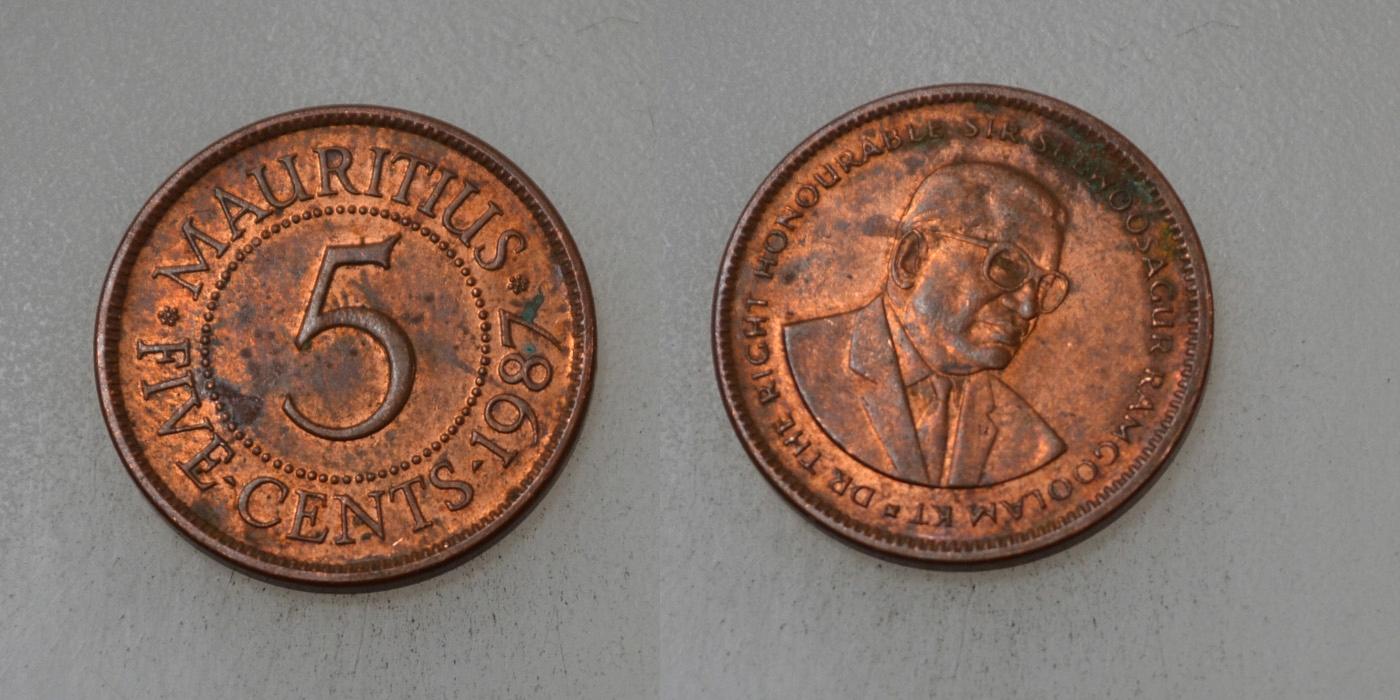 Mauritius 5 Cents 1987 rok BCM