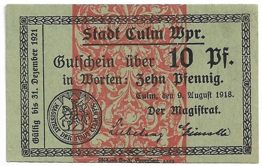 Chełmno (Culm) 10 Pfg., 1918