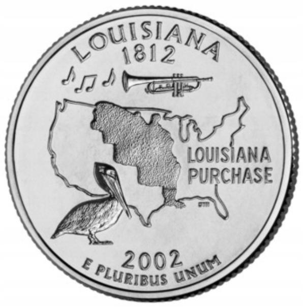 USA -2002- 25 Centów- LOUISIANA - STANY USA