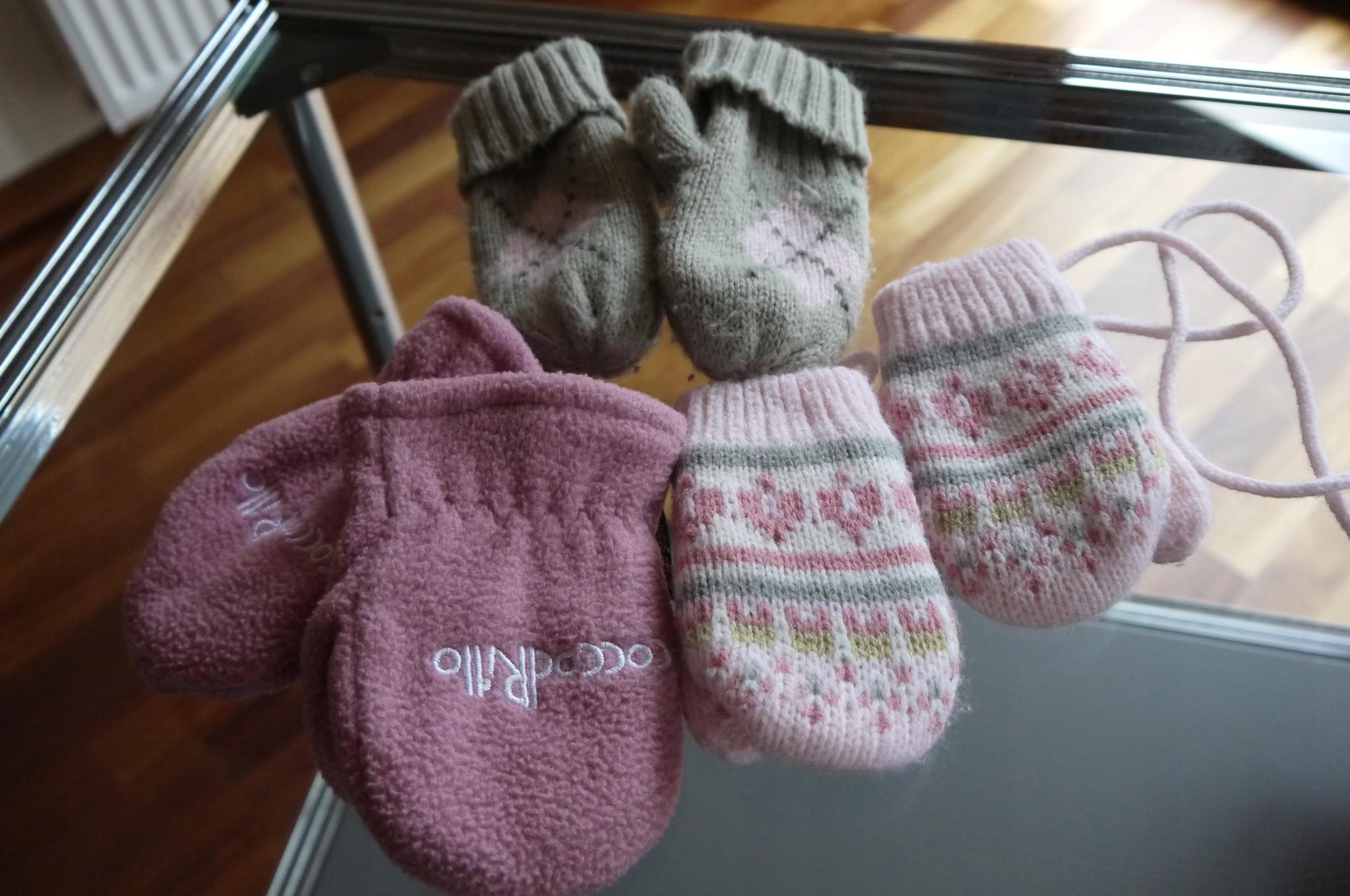 rękawiczki 3 pary 12 miesięcy dziewczynka !!!