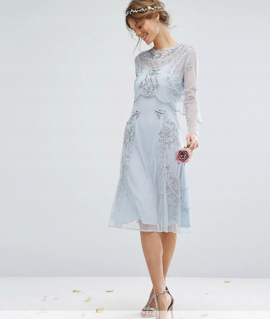30fea595a26041 Zjawiskowa Sukienka Amelia Rose XL zdobienia midi - 7568205084 ...