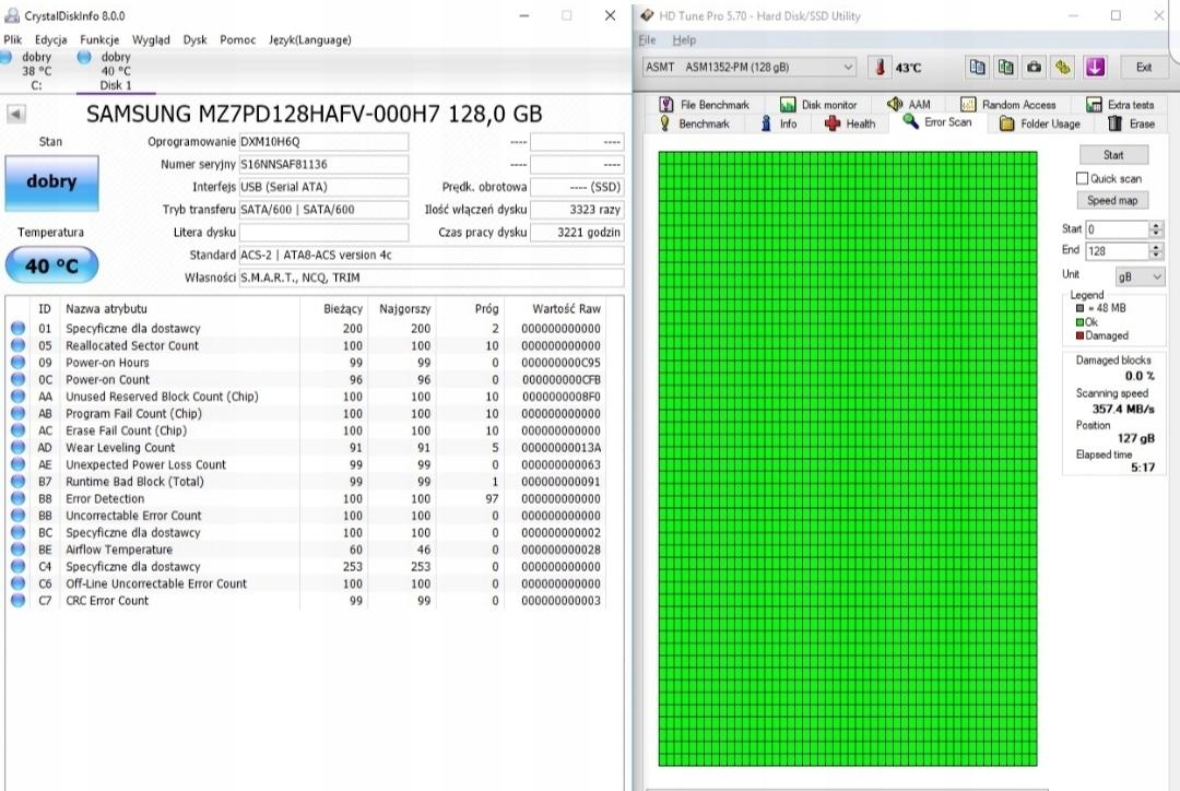 dysk ssd Samsung mz7pd128hafv-000h7 128 gb