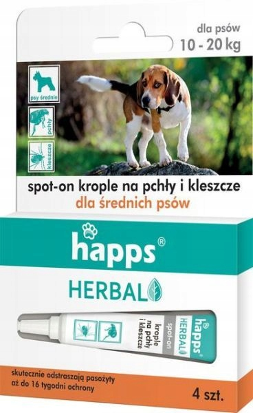 HAPPS HERBAL krople dla psa 10-20kg 4szt x 3ml