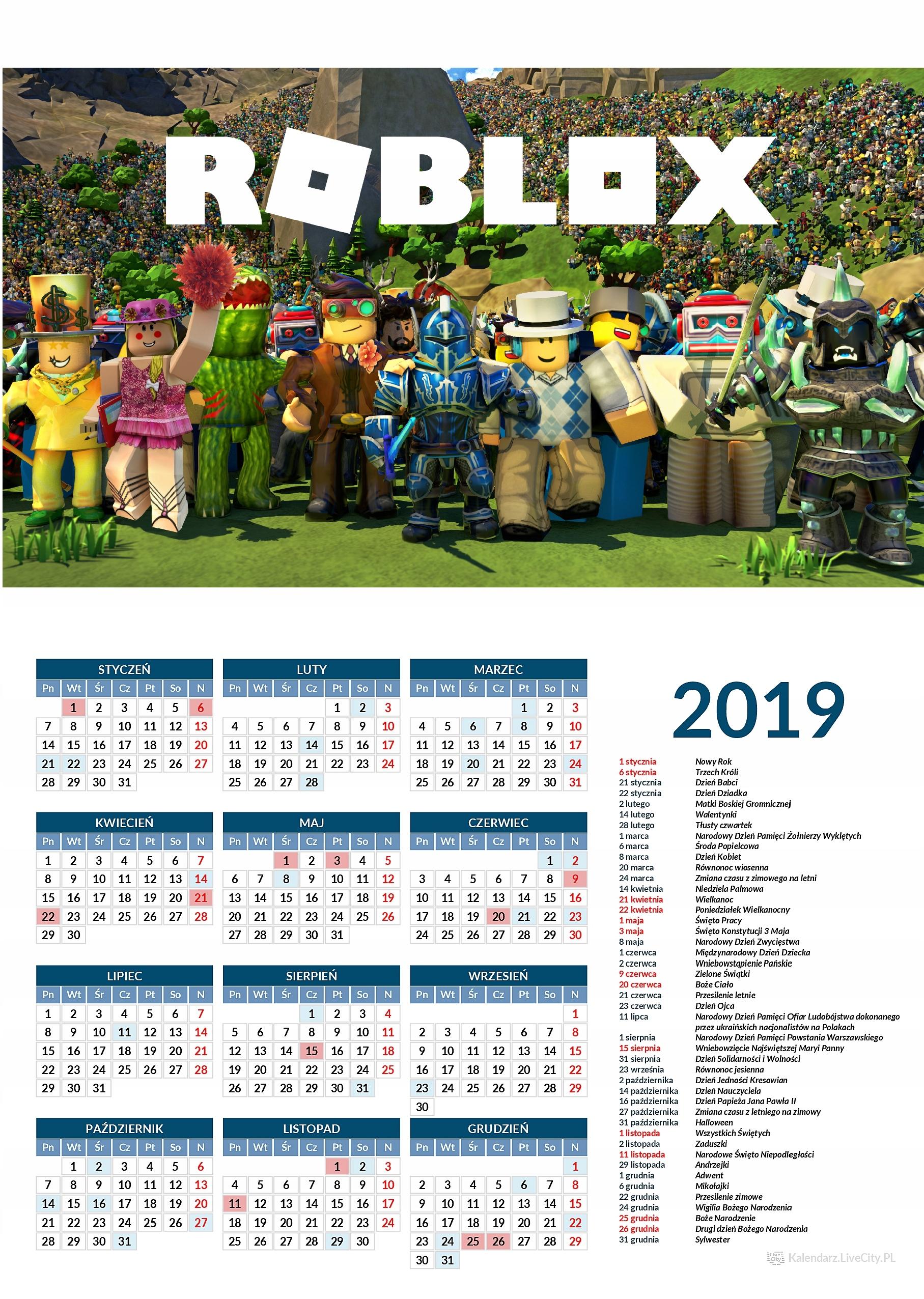 Kalendarz 2019 ROBLOX - 7749653135 - oficjalne archiwum allegro