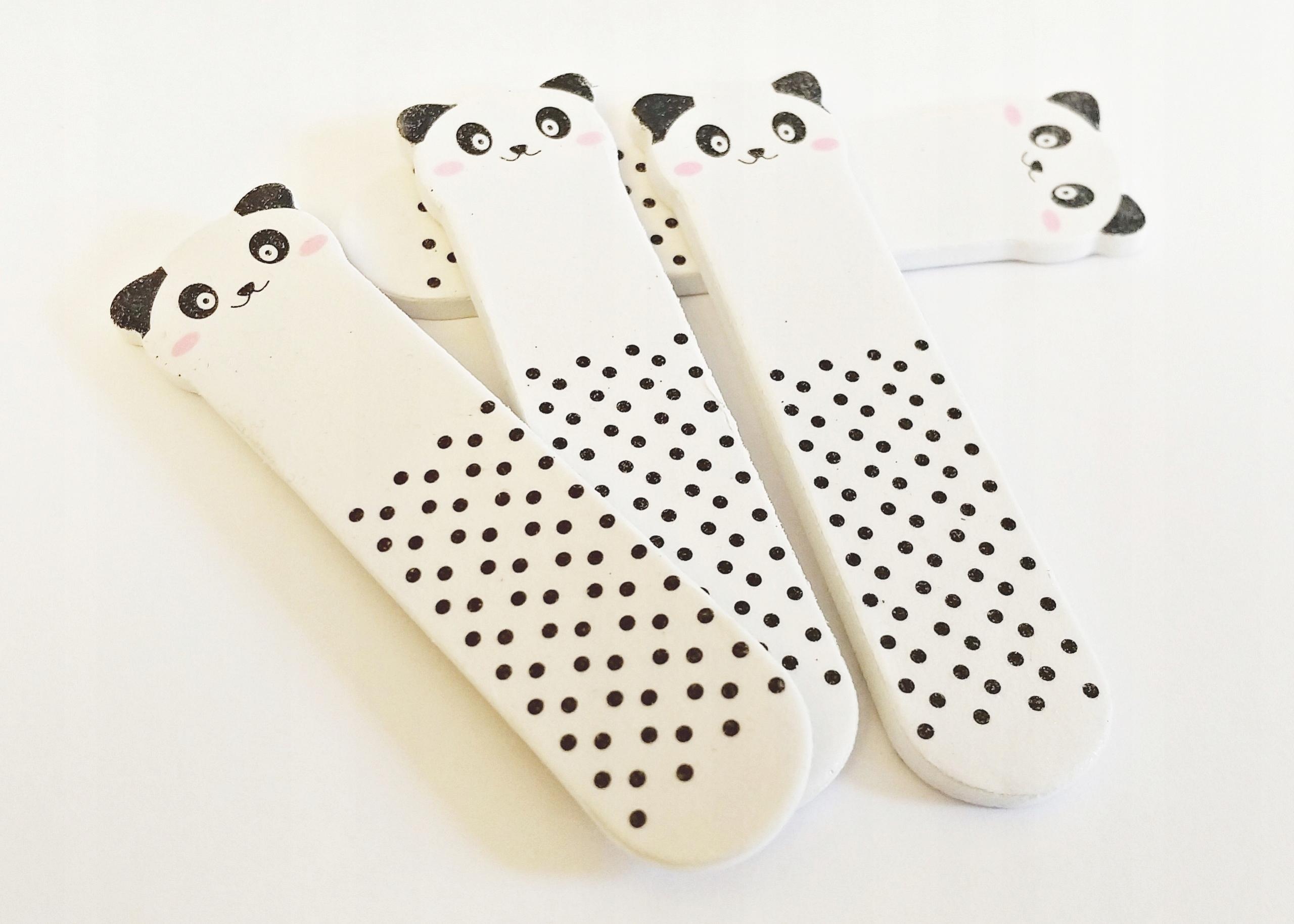 PILNICZKI PILNIKI do paznokci białe pandy