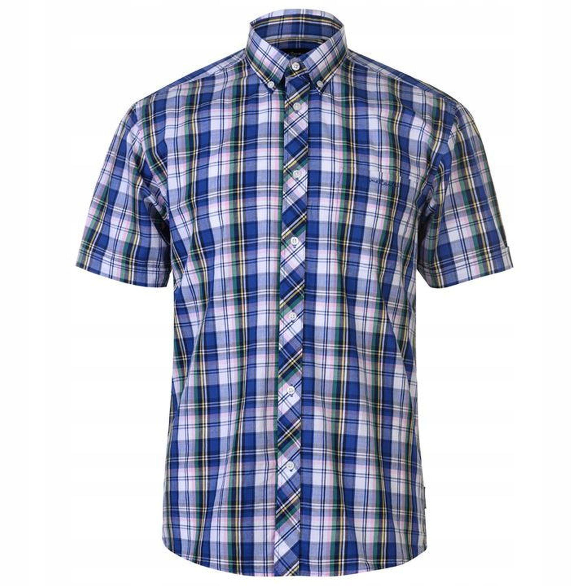 Koszula krótki rękaw PIERRE CARDIN kratka 41-42 XL