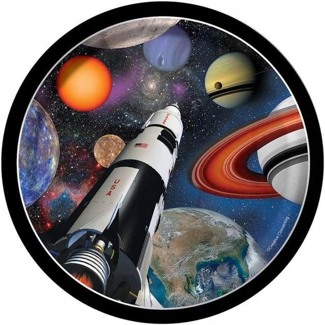 TALERZYKI papierowe KOSMOS rakieta planety 8 szt