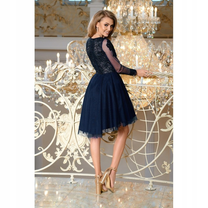 21755b21a55830 Wieczorowa sukienka z wyszywaną górą z przejrzysty - 7799721206 ...