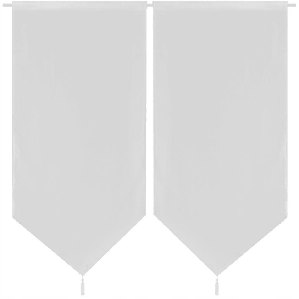 2 białe płócienne zasłony/firany do kuchni 60 x 16