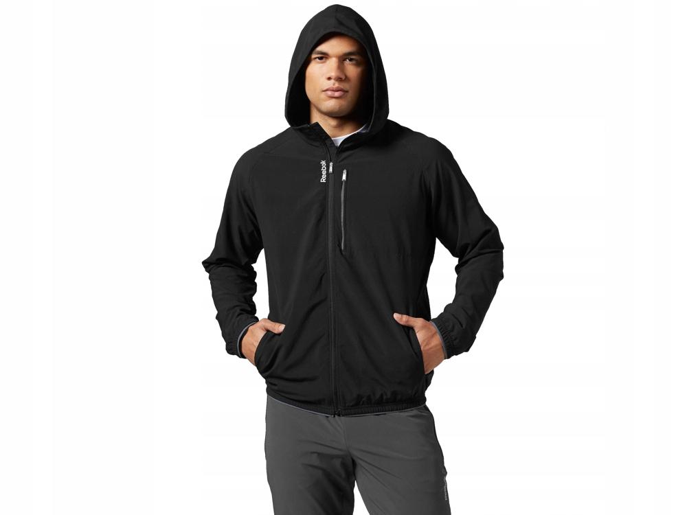 Reebok czarna bluza męska rozpinana B86599 kaptur