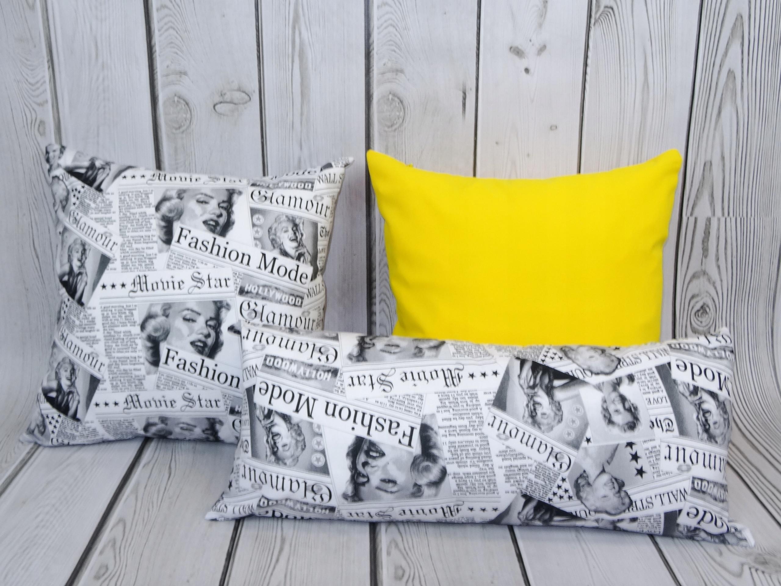 3 Poduszki Dekoracyjne żółte I Czarno Białe 7649079902