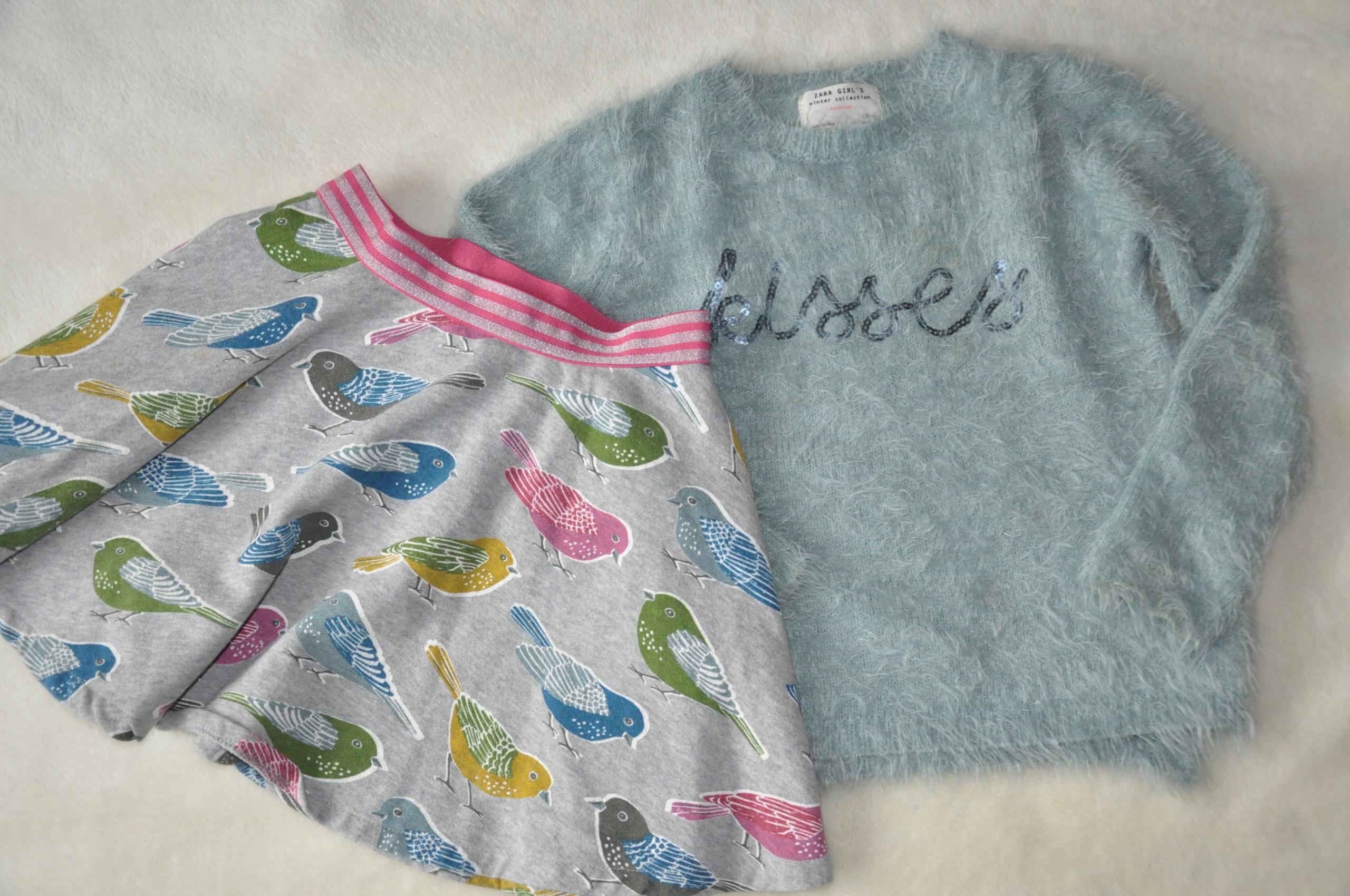Mini Boden spódnica i Zara sweter rozm. 128