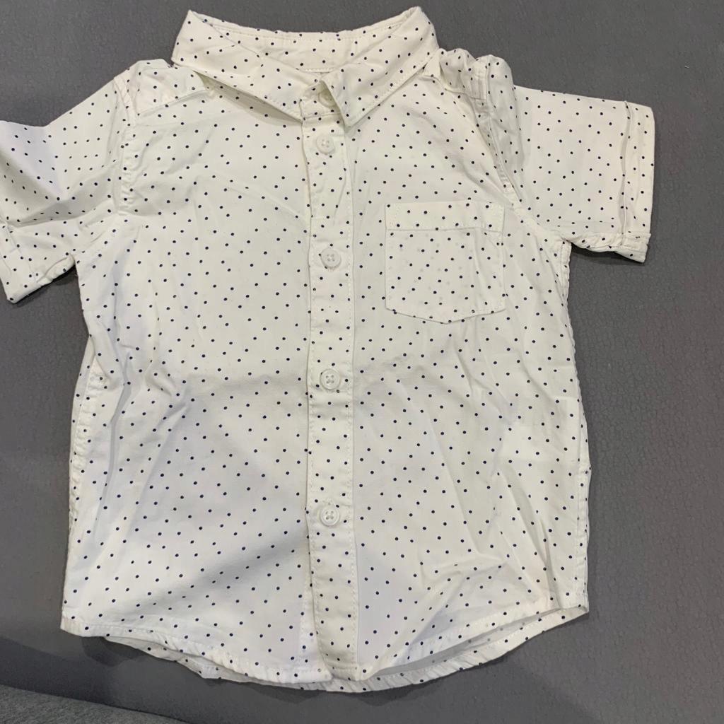 H&M koszula biała w kropki 68cm