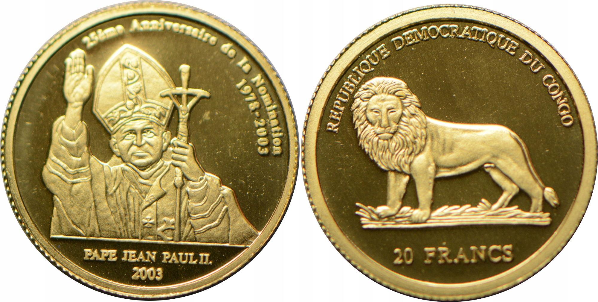 3.KONGO 20 FR 2003 JAN PAWEŁ II ZŁOTO.999 21.01