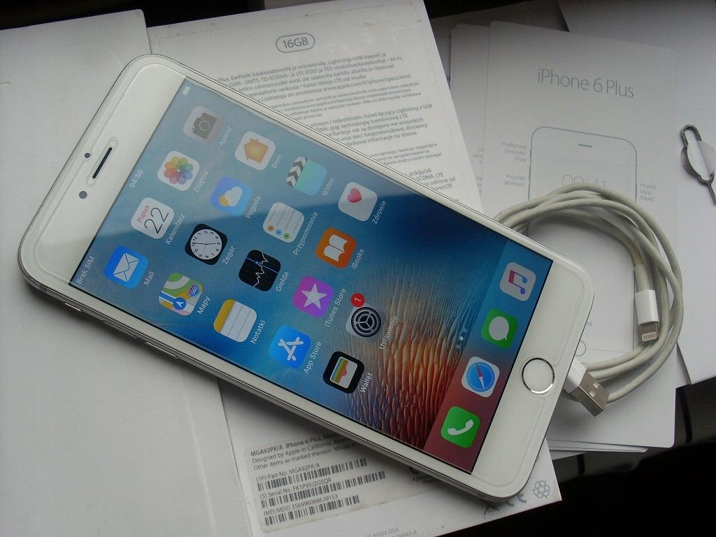 Apple iPhone 6 Plus 16GB Silver 5,5'' BEZ SIMLOCKA