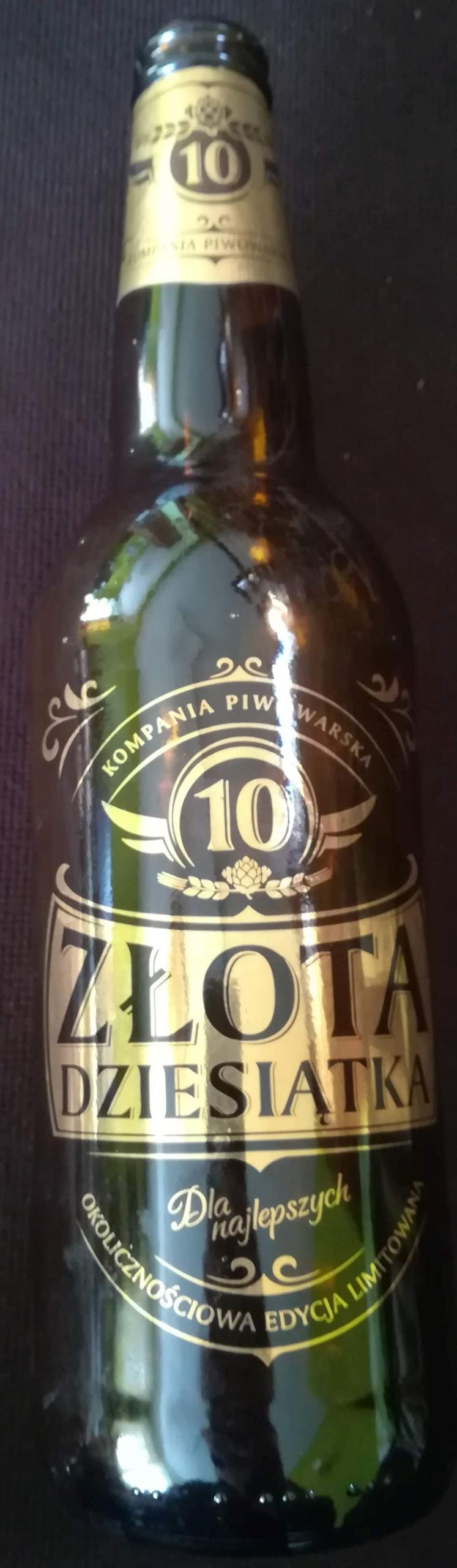 Złota Dziesiątka butelka z malowaną etykietą