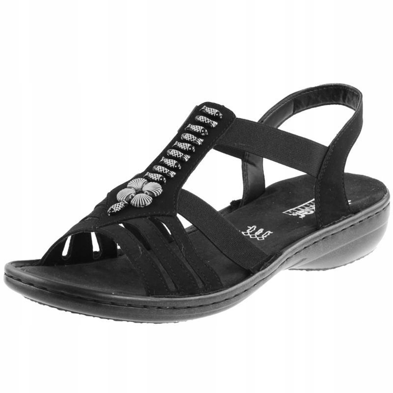 Czarne Sandały damskie Rieker 60806-00 R.38