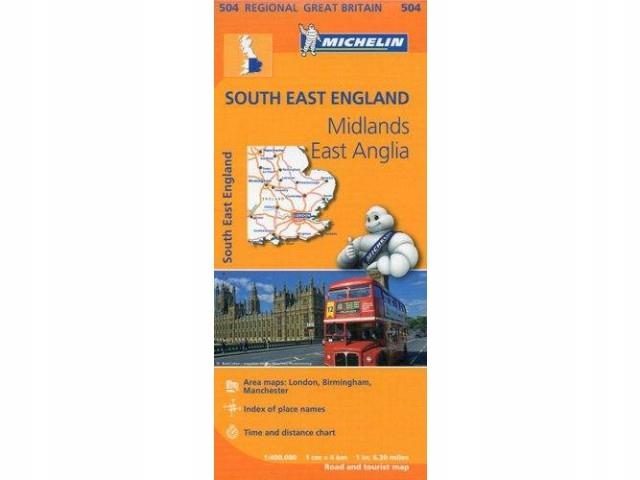 mapa samochodowa South East England, East Anglia,