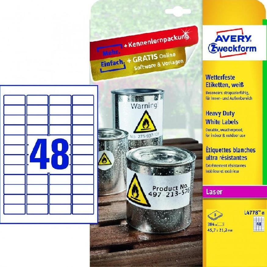 Etykiety wodoodporne Heavy Duty, 45,7 x 21,2mm,,,