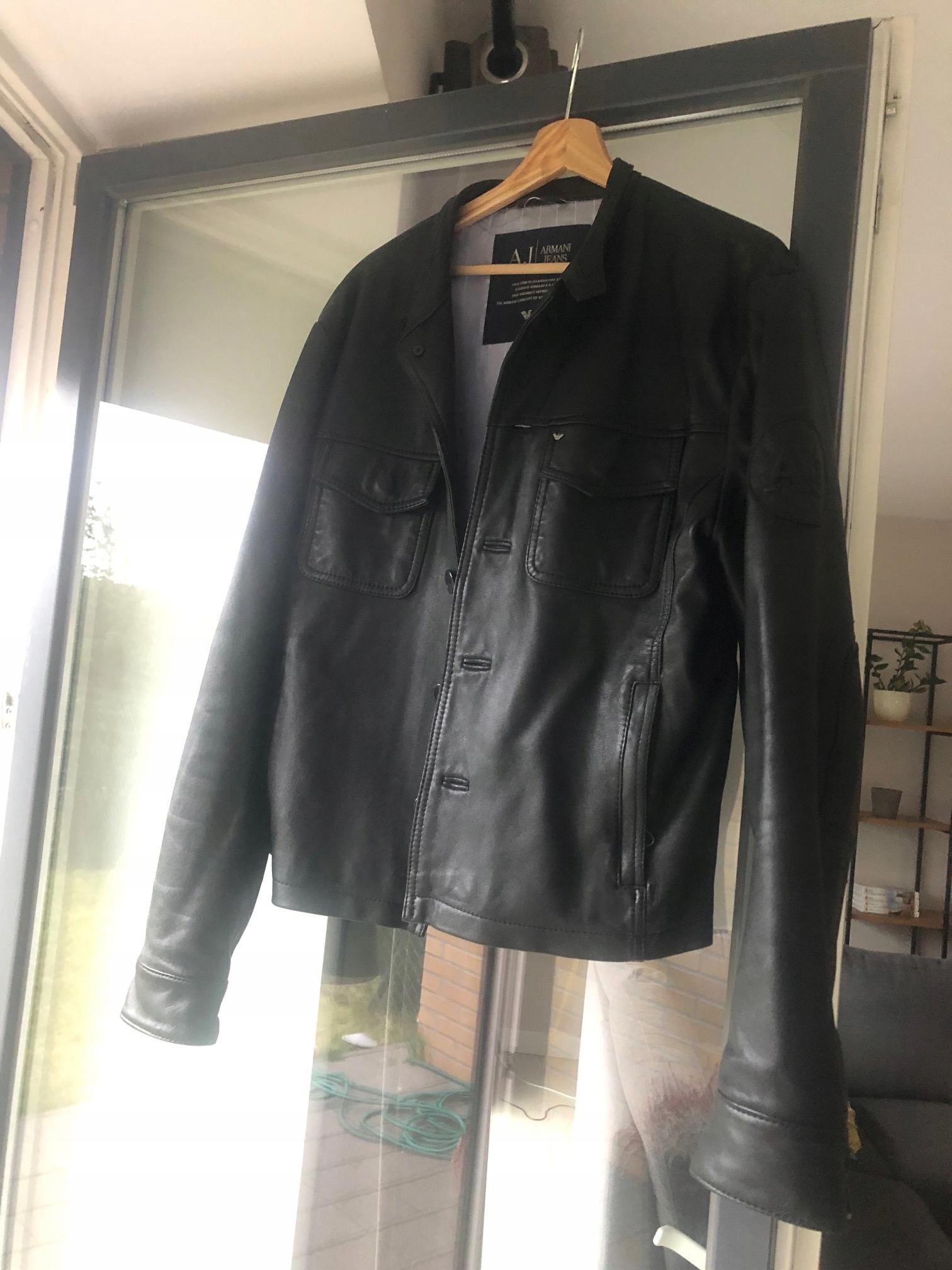 czarna skórzana kurtka Armani Jeans, rozmiar L(52)
