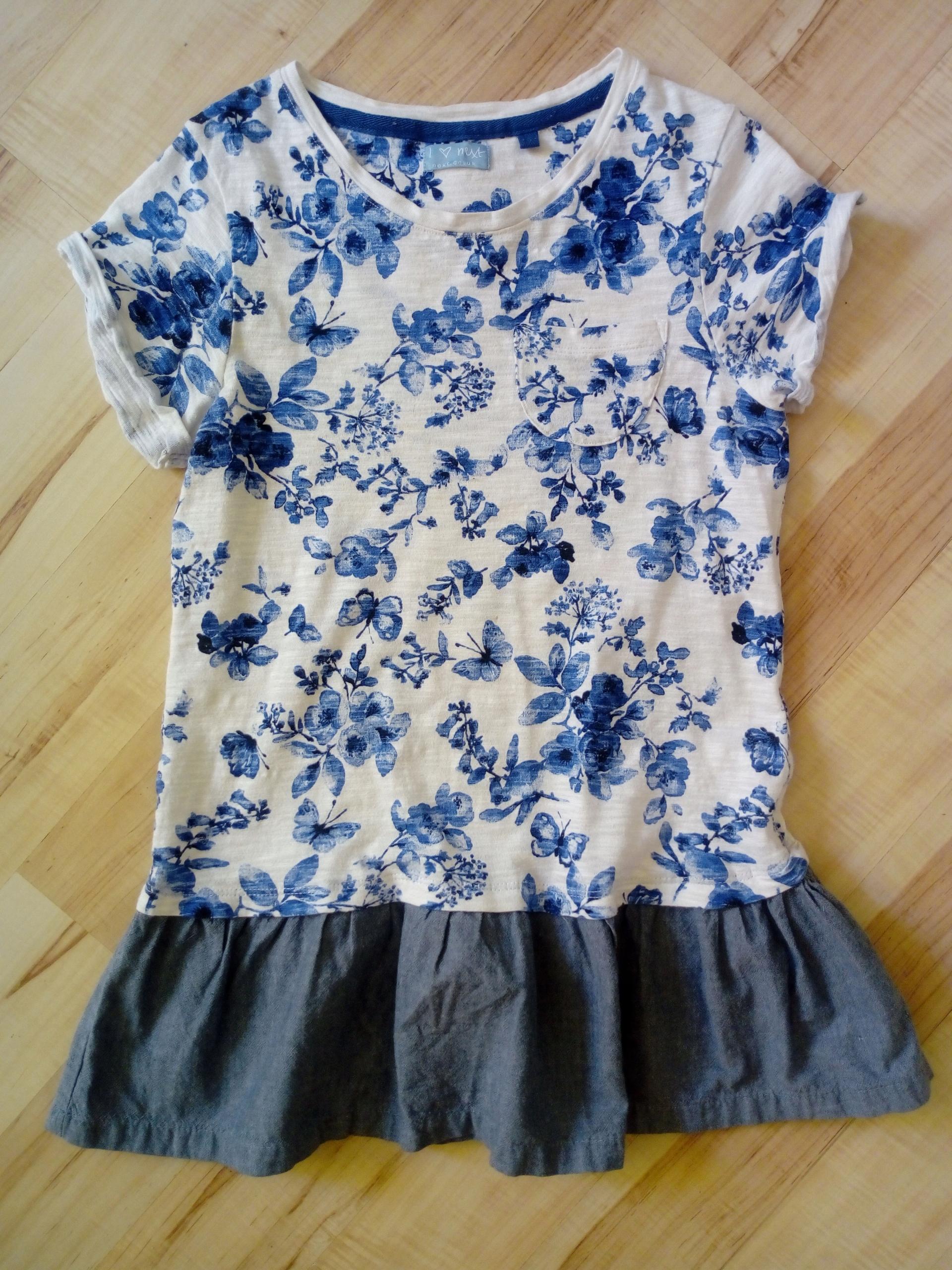 NEXT niebieska sukienka kwiaty falbanka 140 10