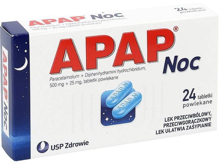 AP Apap Noc Ból Gorączka Sen lek 24 tabletki