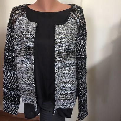 Sweter narzutka ćwieki melanż H&M rozmiar 46