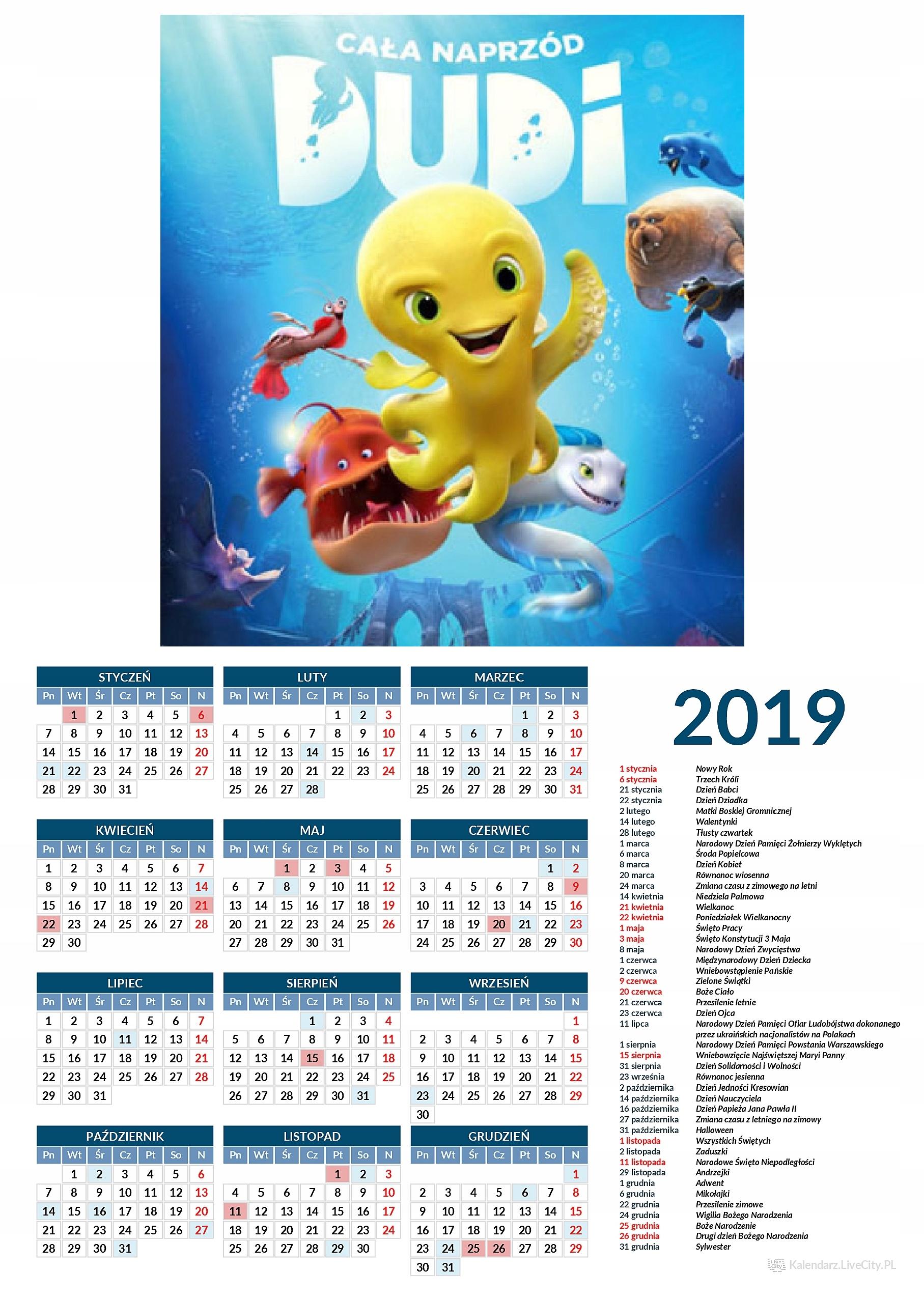 Kalendarz 2019 film Dudi cała naprzód