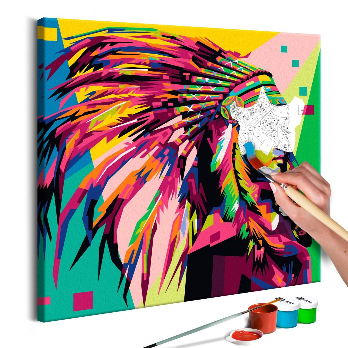 Obraz do samodzielnego malowania - Indianin (pióro