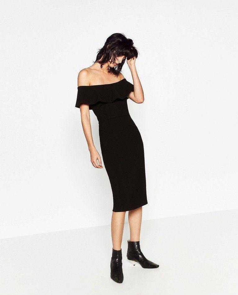 ZARA nowa czarna ołówkowa sukienka falbana 40
