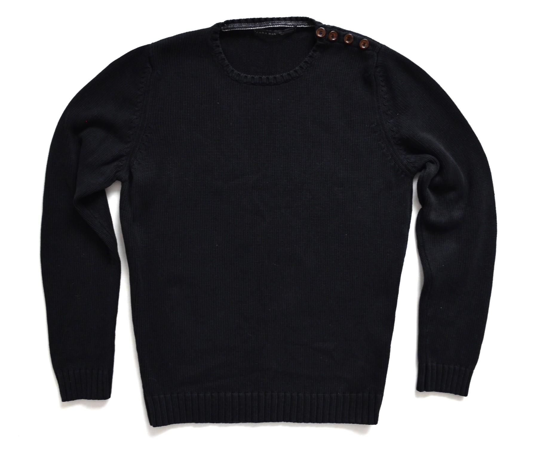 Zara męski czarny klasyczny elegancki sweter roz M