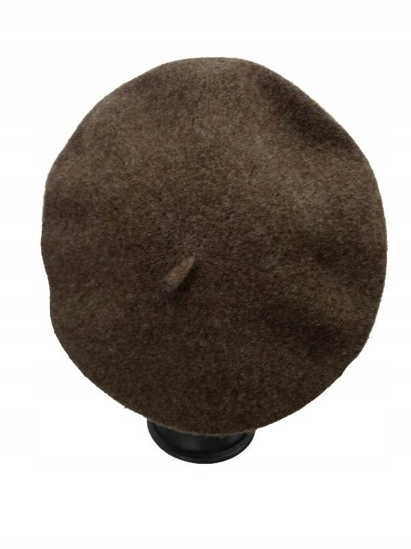 Klasyczny francuski beret 90% wełna brązowy melanż