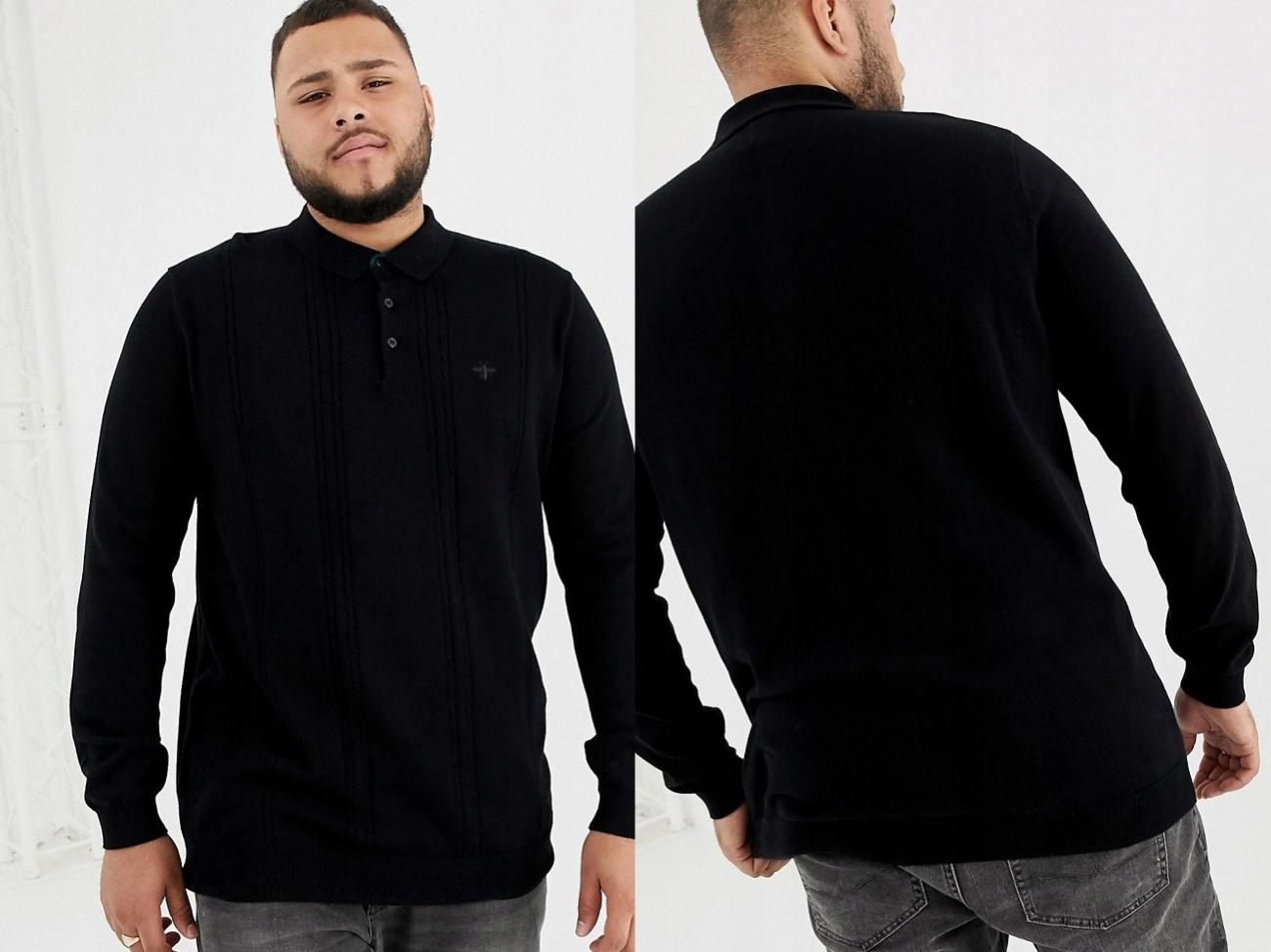 River Island Czarny Sweter z Kołnierzykiem XL