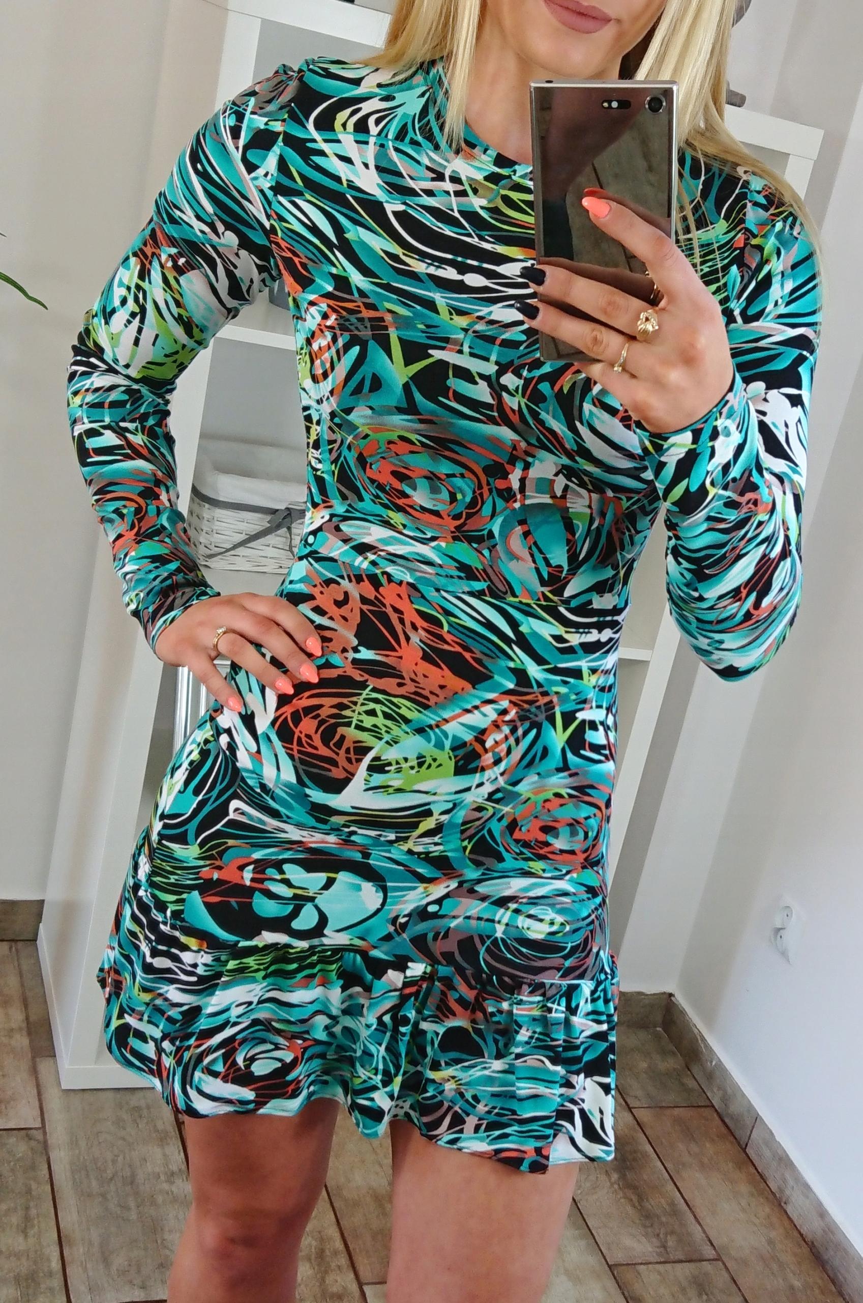 Sukienka ołówkowa print paski falbanka hit s 36