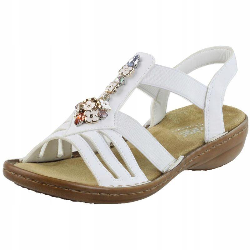 Białe Sandały damskie Rieker 60855-80 R.42