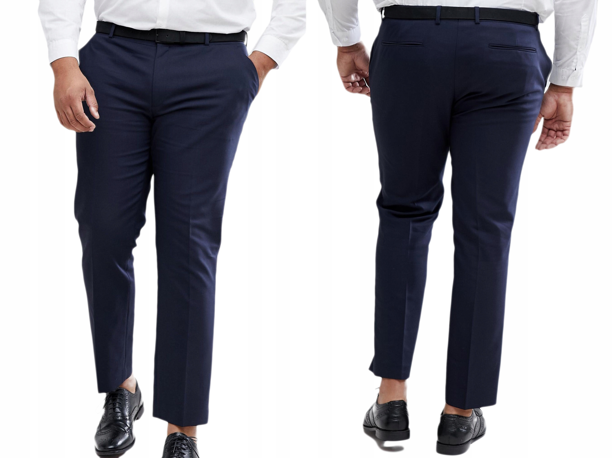 Granatowe Eleganckie Spodnie w Kant W42/L32