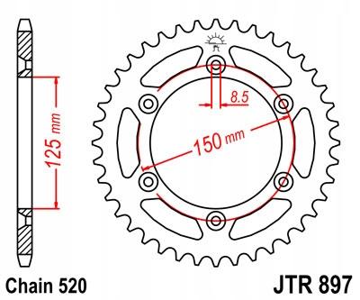 ZĘBATKA TYLNA JT 42-ZĘBY HUSABERG FE 250 2013-2014