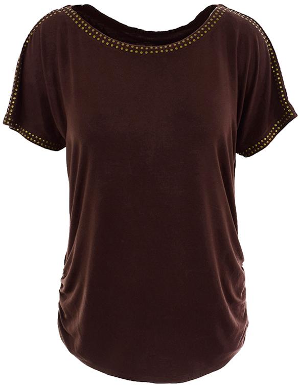 bXX1894 brązowa bluzka z dżetami 46