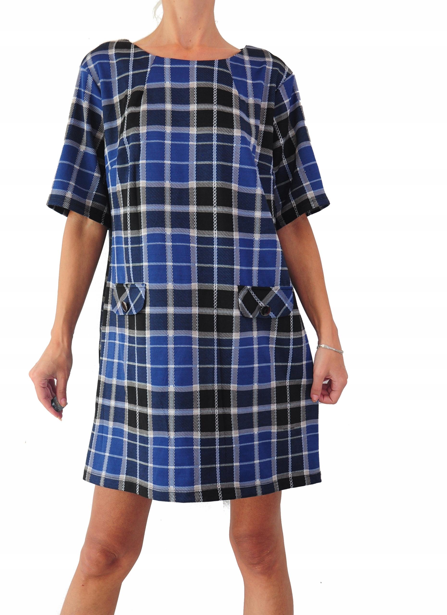 Sukienka granatowa kratka r. 46 Dorothy Perkins