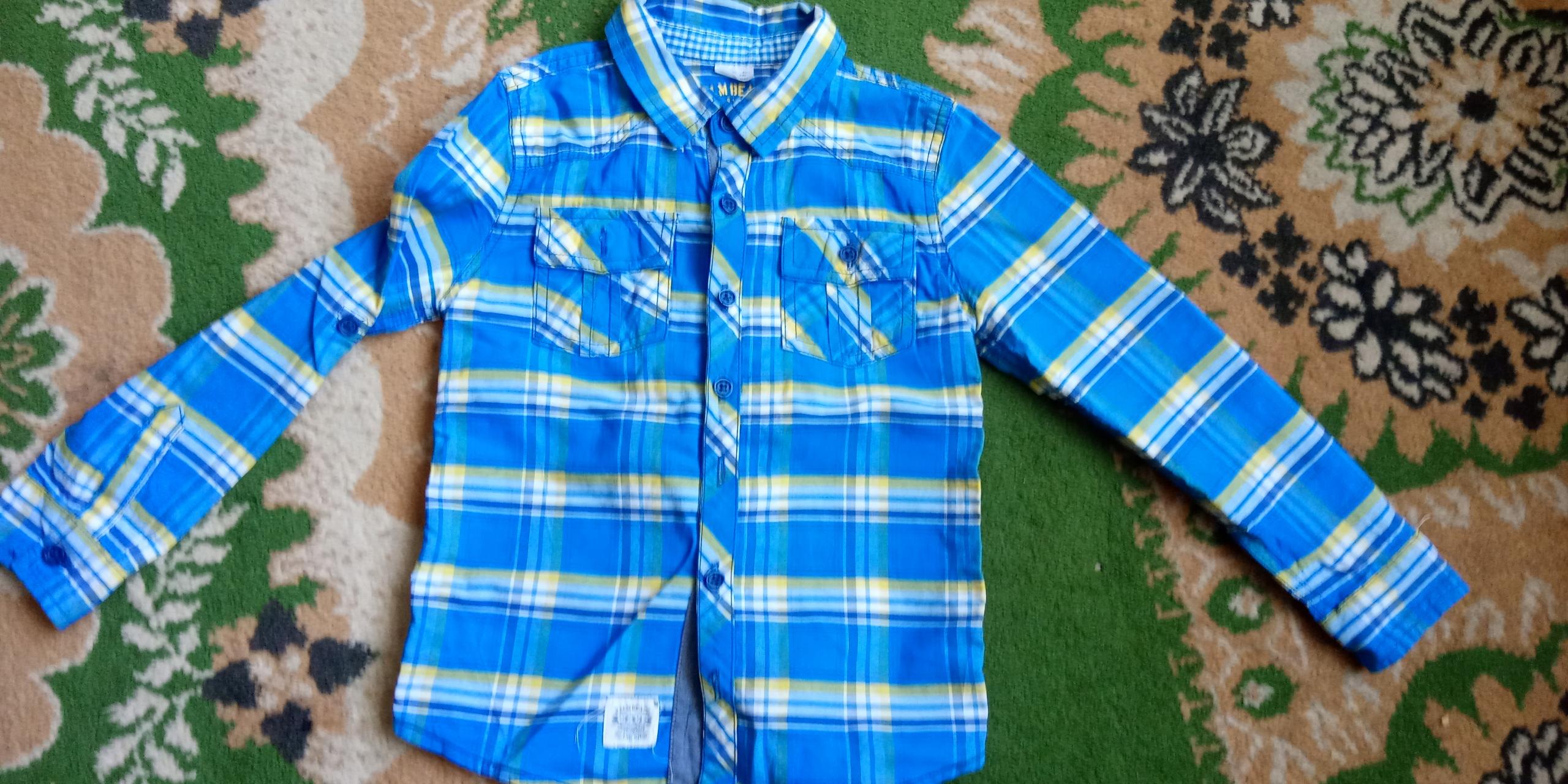 F&F koszula nieb.-żółta r. 116 chłopak 5-6 l.