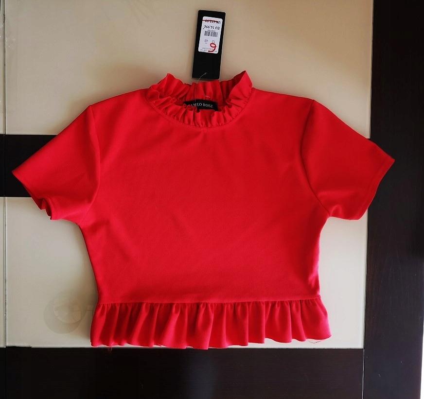 NEW LOOK bluzka krótka czerwona ZaRAA 34 XS