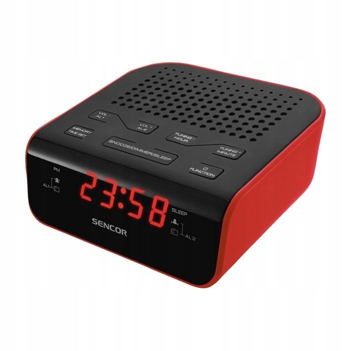 SRC 136 RD Radiobudzik, wyświetlacz LED, prog. 20