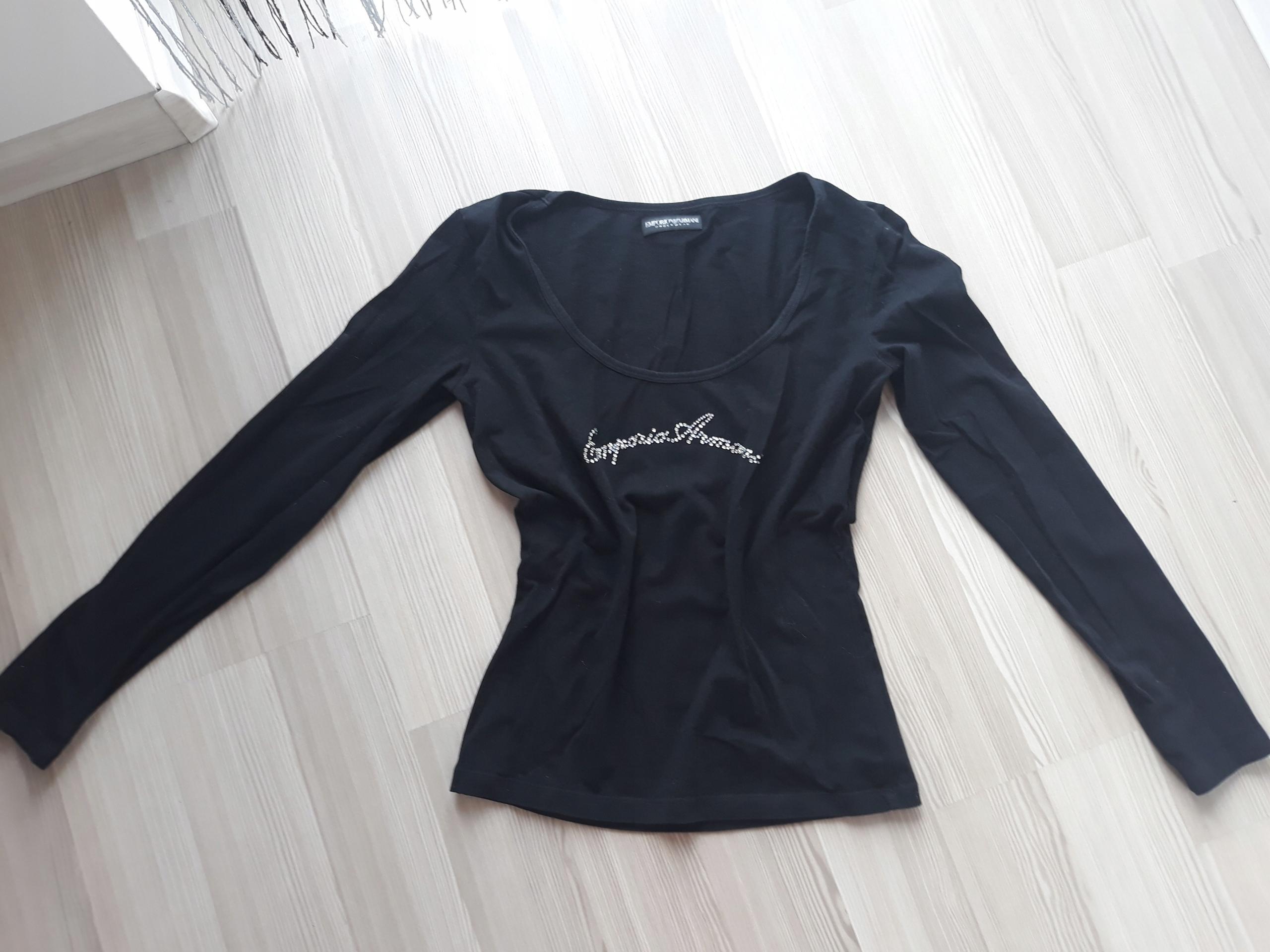 Czarna obcisła bluzka EMPORIO ARMANI cyrkonie M/L