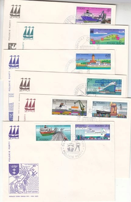 FDC. 1976. Polskie porty