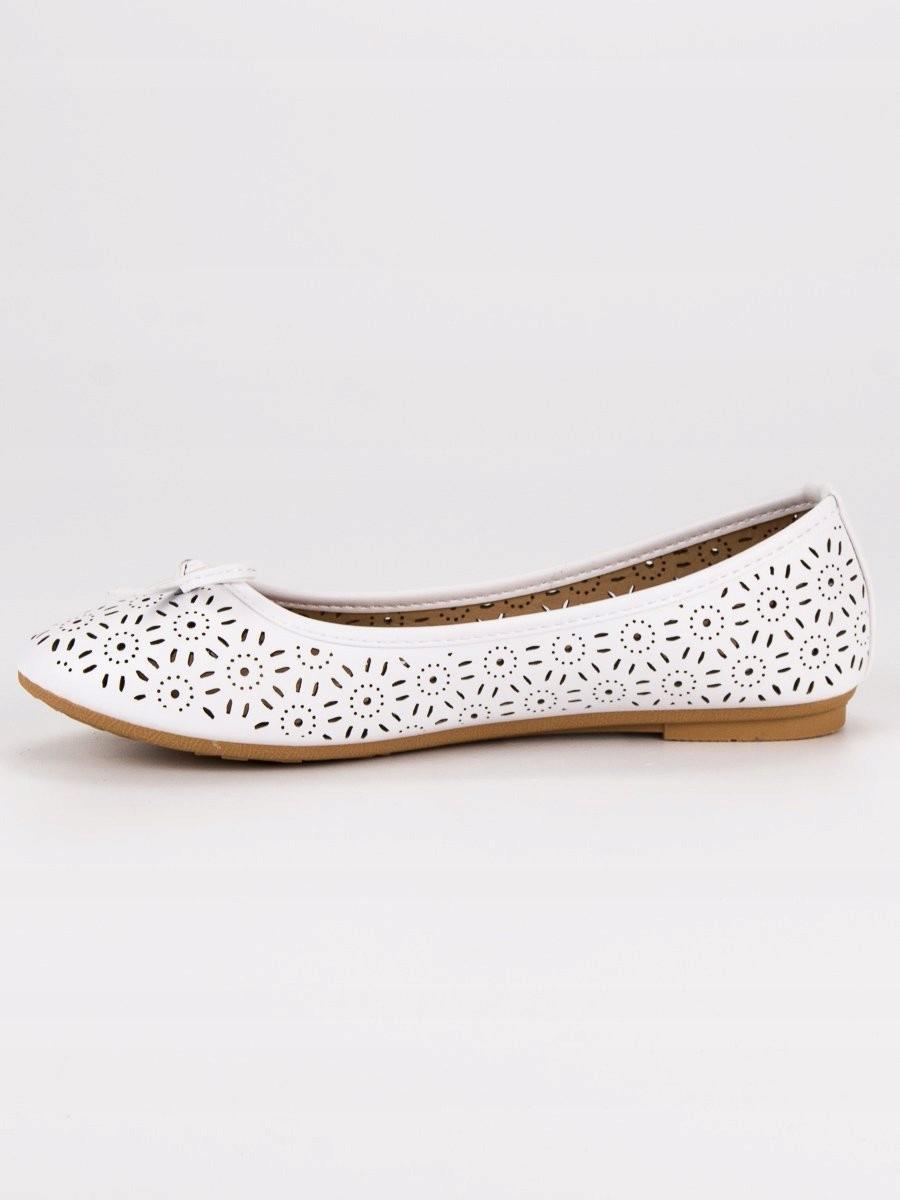 887168e05a8fac AŻUROWE BALERINY 39 białe casualowy obuwie - 7423390381 - oficjalne ...