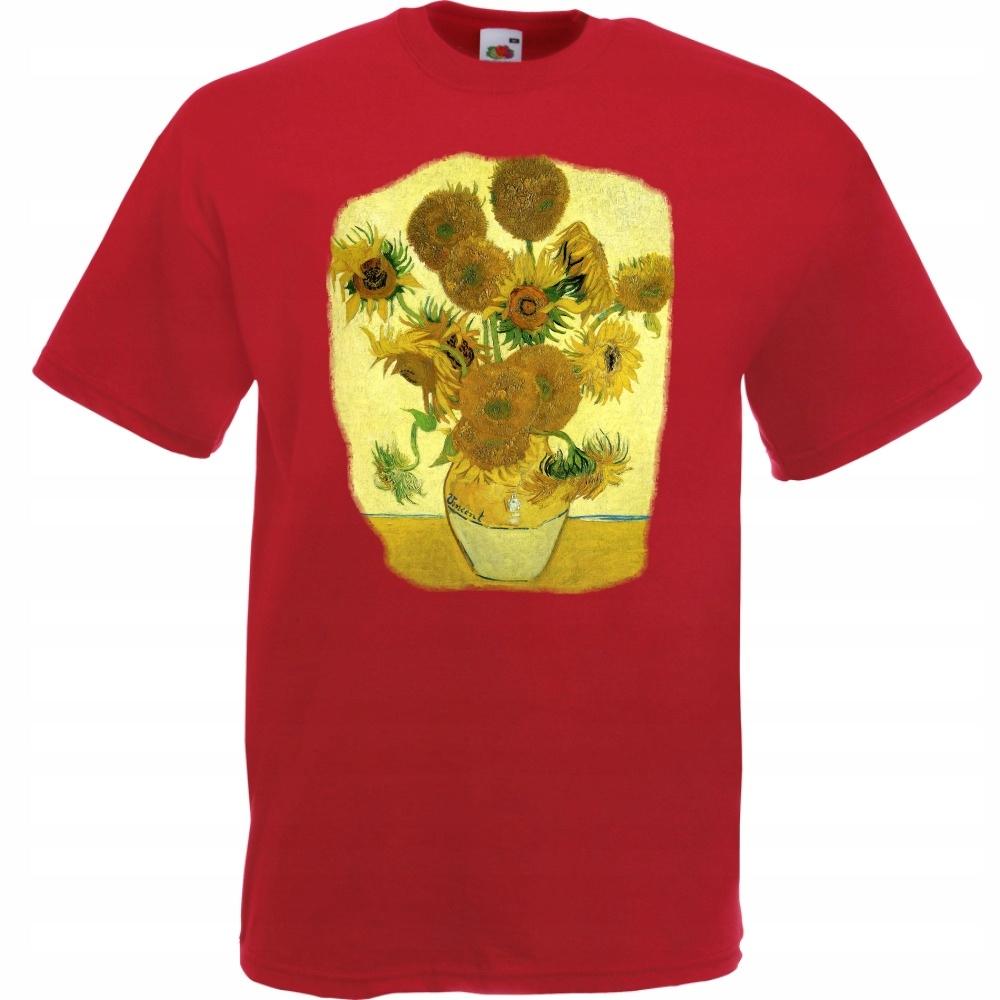 Koszulka z nadrukiem Van Gogh słoneczniki M cegla