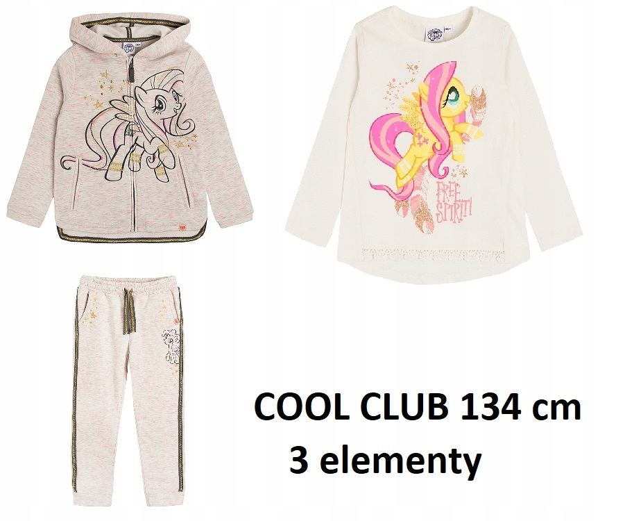 Zestaw bluza,spodnie,bluzka cool club 134 cm MLP