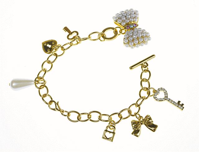 Złota Bransoletka z Kluczykami i Dziurkami klucza