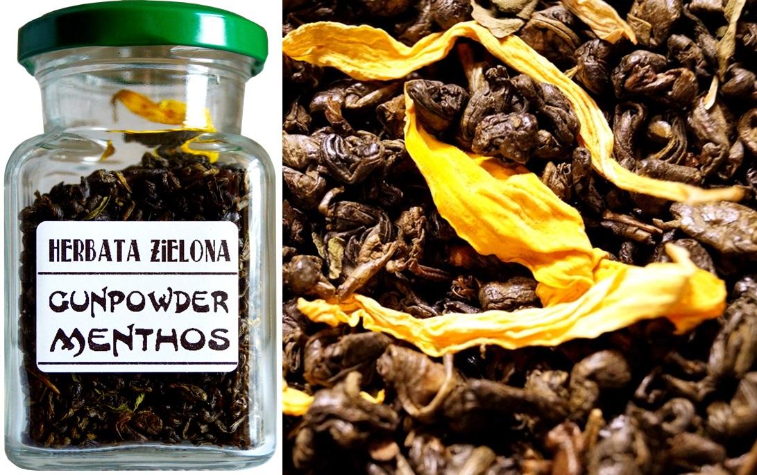 Herbata zielona - GUNPOWDER MENTHOS w słoiczku