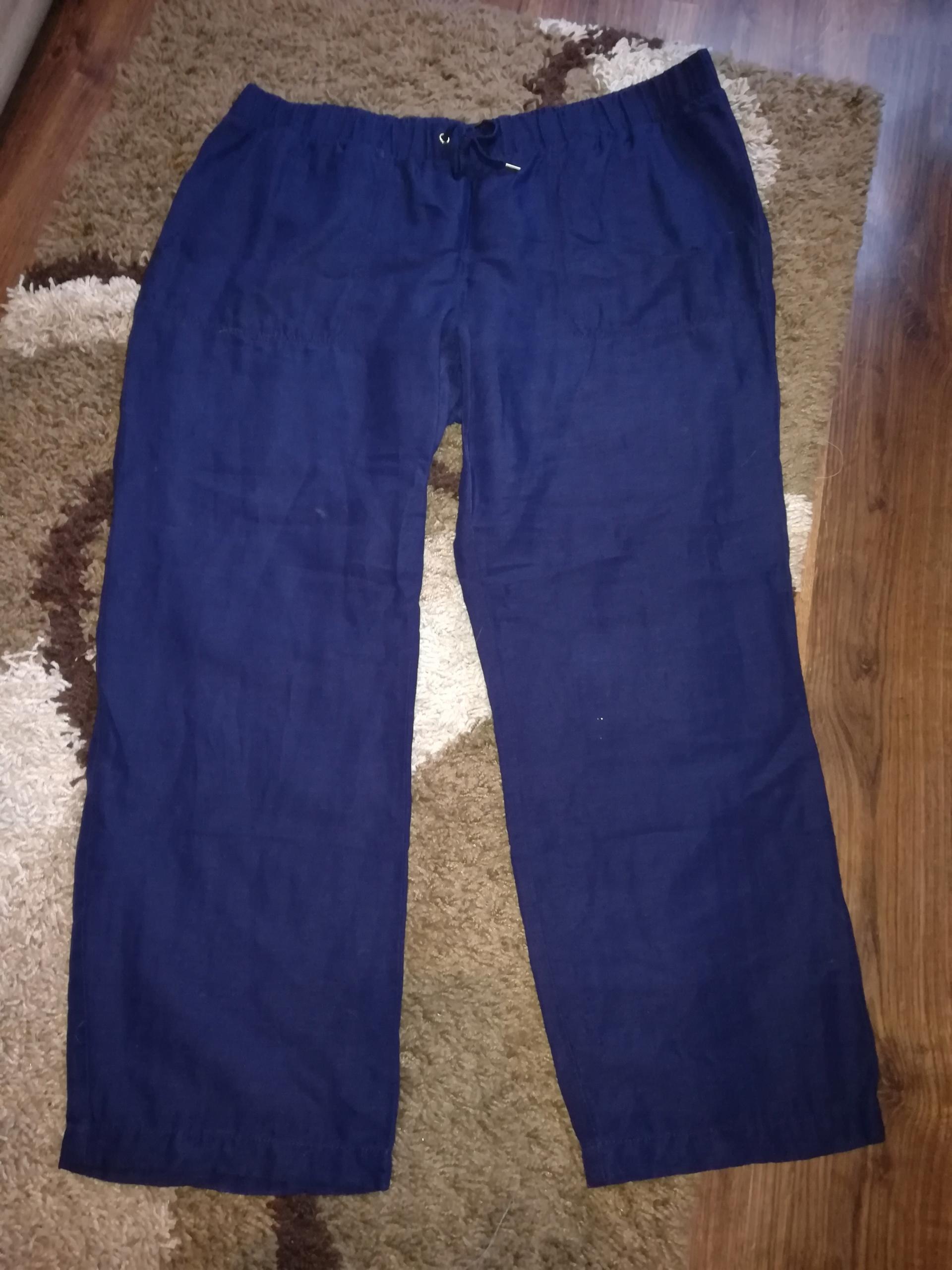H&M - granatowe lniane spodnie r. 50